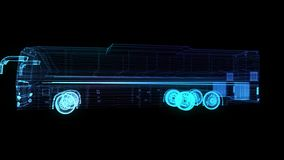 City bus. Truck. Glow points and line formation of 3d Model Bus. Rotating. Seamless loop 4k animation. Digital