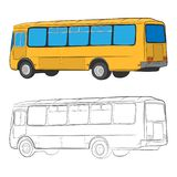 City bus vector drawing illustration stock images