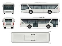 City bus vector mockup. Bus vector mock-up. Isolated template of city bus on white background. Vehicle branding mockup. Side, front, back, top view. All elements Royalty Free Stock Photography