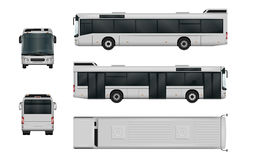 City bus vector template. Isolated passenger transport on white background. The ability to easily change the color. All sides in groups on separate layers Royalty Free Stock Photo