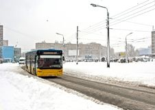 City bus in winter Royalty Free Stock Photo