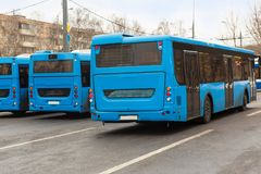 City buses in the Parking lot. Near the bus station Royalty Free Stock Images