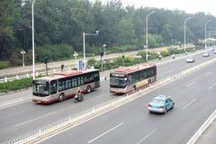 City buses. Photoed in Balitai Tianjin China royalty free stock photo