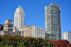 City business center beside Chicago Millennium Park. City buildings and street beside of Millennium Park in Chicago.  Photo taken in October 5th, 2014 Royalty Free Stock Photos