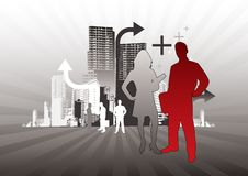City Business People. With one man standing out Royalty Free Stock Image