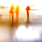 City business people walking on. Mall, urban scene blur abstract background, black and white Stock Images