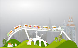 City and busy railways. Trans bringing cargo White city collection Royalty Free Stock Photo