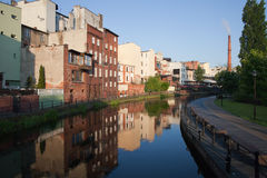 City Of Bydgoszcz In Poland Along Mill Island Stock Images