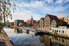 City of Bydgoszcz in Poland. With Granaries by the Brda River Royalty Free Stock Photography