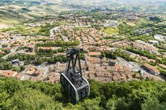 City Cable Car in San Marino Stock Photography