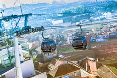 City cable cars Royalty Free Stock Image