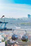 City cable cars. Over the city of Gaia, Portugal Stock Image