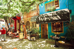 City cafe in rebuilt district. ISTANBUL: Exterior of the city style cafe in rebuilt district of Tophane with many hipster stores & bars in Turkey. Near 12 Royalty Free Stock Image