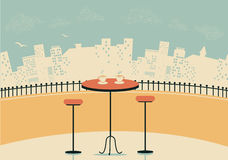 City cafe with table and cups of coffee. Vector background illustration Stock Image