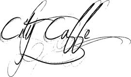 City Caffe Script Text. The words City Caffe written in black flowing script letters with flourishes on white background Royalty Free Stock Photo