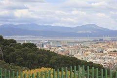 City of Cagliari Sardinia Italy. Landscape of the City of Cagliari Sardinia Italy with harbor and cruise ship royalty free stock photo