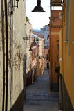City of Cagliari, Sardinia, Italy. Narrow old street in the town center royalty free stock images