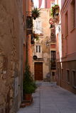 City of Cagliari, Sardinia, Italy. Narrow old street in the town center Stock Image