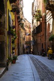 City of Cagliari, Sardinia, Italy. Narrow old street in the town center stock images