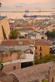 City of Cagliari, Sardinia, Italy. View of the old centre and harbor. Stock Photography