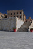 City of Cagliari, Sardinia, Italy. View of the old city, modern terrace. Cagliari, Island of Sardinia, Italy. View of the old city and modern restoration Stock Photo