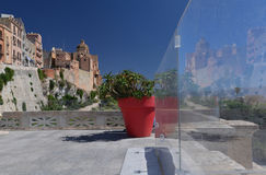 City of Cagliari, Sardinia, Italy. View of the old city, modern terrace. Cagliari, Island of Sardinia, Italy. View of the old city and modern restoration Stock Images