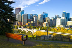 The City of Calgary Skyline at Sunrise Stock Photos