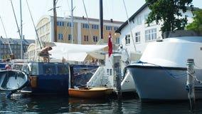 City canal boat tour Copenhagen Denmark stock footage