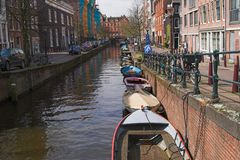City canal view, Amsterdam, Ne. Water canals of Amsterdam are very pictorial Royalty Free Stock Images
