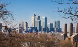 City of Canary Wharf. London view from the Greenwich hills Stock Image