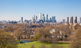 City of Canary Wharf. London view from the Greenwich hills Stock Photos