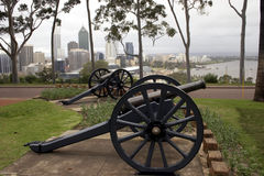 City Canons. Twin Canons in Kings Park with Perth in the background stock images