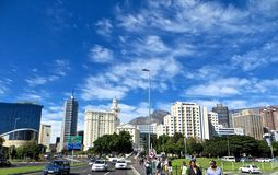City of Cape Town. The bustling metropolis of cape town by car with a view of the Cape Town International Conference Centre CICC and Table Mountain, South Africa stock images