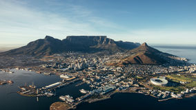 City of Cape Town, South Africa. Aerial coastal view of cape town city with table mountain, cape town harbour, lions head and devils peak, South africa stock photography