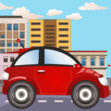 City car icon. Vector illustration of an urban city red car icon stock illustration