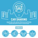 City car sharing banner, outline style. City car sharing banner. Outline illustration of city car sharing vector banner for web design vector illustration