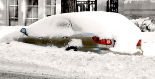 City car stocked in snow, winter image Royalty Free Stock Images