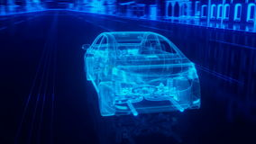 City car structure overview in wire style Royalty Free Stock Photography
