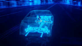 City car structure overview in wire style Stock Image