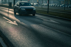City car traffic - cars on a city road Stock Photography