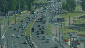 City car traffic  timelaps. City car traffic  Minsk, Belarus stock footage