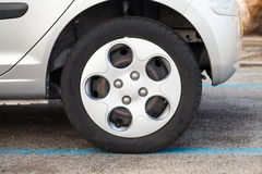 City car wheel, gray light alloy disc Stock Image