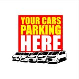 Citycar parking vector template. City card illustrations for graphic designs Stock Image