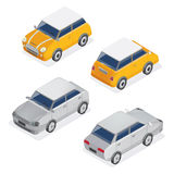 City Cars Isometric Set with Mini Car and Sedan Automobile Royalty Free Stock Image