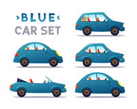 CITY CARS SET. CARS SET. BLUE Car collection icon,vector illustration Royalty Free Stock Photography