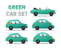 CITY CARS SET. CARS SET. GREEN Car collection icon,vector illustration Royalty Free Stock Photography