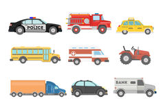City cars set. Police and school bus, truck and ambulance Royalty Free Stock Image