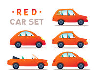CITY CARS SET. CARS SET. RED Car collection icon,vector illustration Stock Image