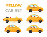 CITY CARS SET. CARS SET. YELLOW Car collection icon,vector illustration Stock Images