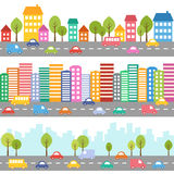 City with cars and street Stock Image